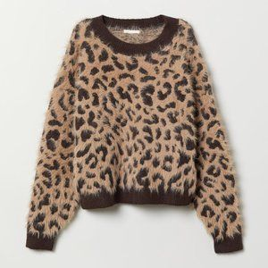 H&M fuzzy crop leopard sweater